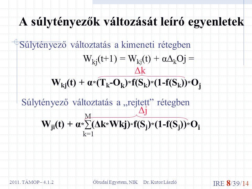 IRE 8 /39/14 Óbudai Egyetem, NIK Dr. Kutor László2011. TÁMOP – 4.1.2 A súlytényezők változását leíró egyenletek Súlytényező változtatás a kimeneti rét