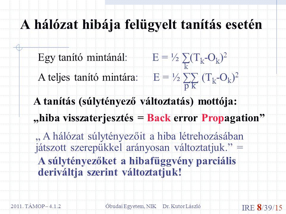 IRE 8 /39/15 Óbudai Egyetem, NIK Dr. Kutor László2011. TÁMOP – 4.1.2 A hálózat hibája felügyelt tanítás esetén Egy tanító mintánál:E = ½ ∑(T k -O k )