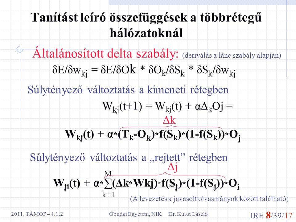 IRE 8 /39/17 Óbudai Egyetem, NIK Dr. Kutor László2011. TÁMOP – 4.1.2 Tanítást leíró összefüggések a többrétegű hálózatoknál Általánosított delta szabá