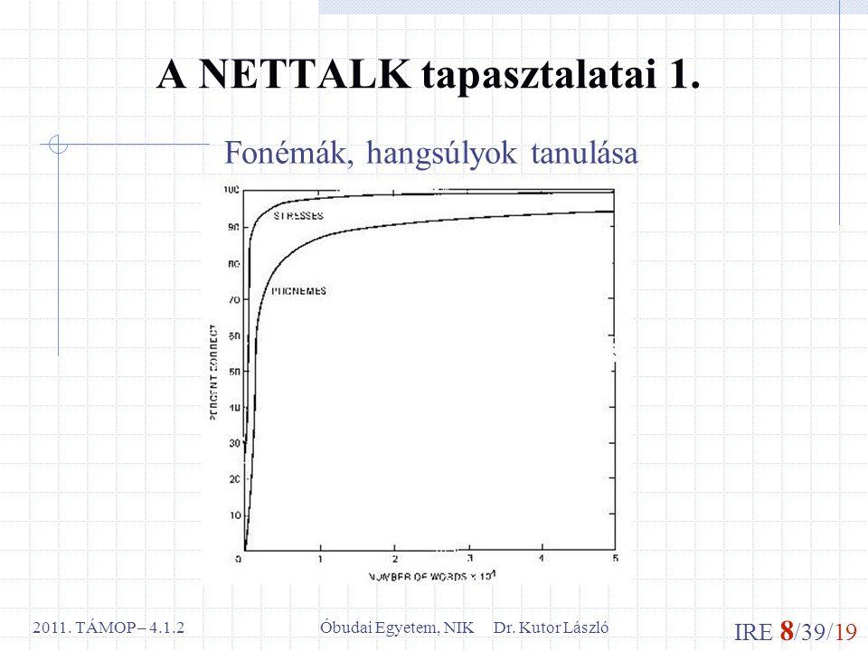 IRE 8 /39/19 Óbudai Egyetem, NIK Dr. Kutor László2011. TÁMOP – 4.1.2 A NETTALK tapasztalatai 1. Fonémák, hangsúlyok tanulása