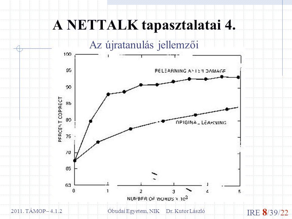 IRE 8 /39/22 Óbudai Egyetem, NIK Dr. Kutor László2011. TÁMOP – 4.1.2 A NETTALK tapasztalatai 4. Az újratanulás jellemzői