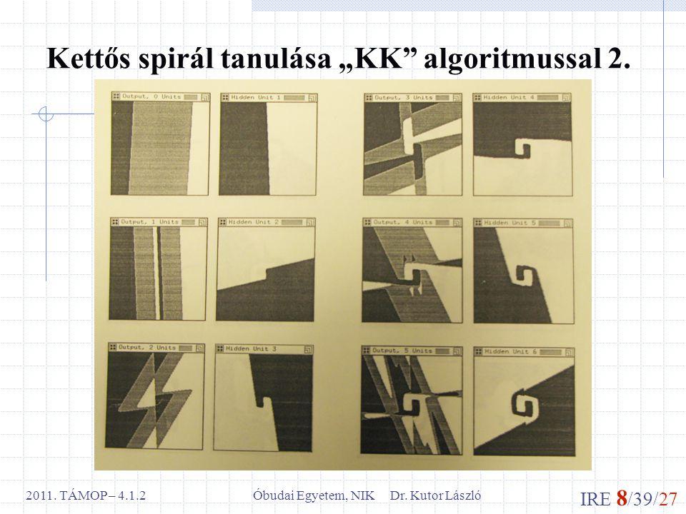 """IRE 8 /39/27 Óbudai Egyetem, NIK Dr. Kutor László2011. TÁMOP – 4.1.2 Kettős spirál tanulása """"KK"""" algoritmussal 2."""