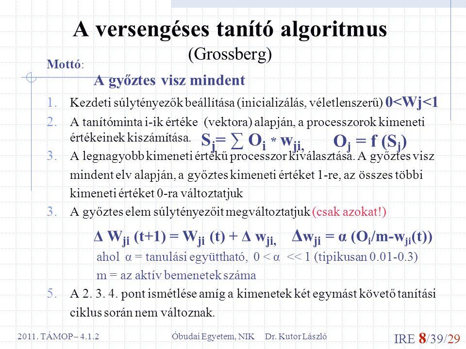 IRE 8 /39/29 Óbudai Egyetem, NIK Dr. Kutor László2011. TÁMOP – 4.1.2 A versengéses tanító algoritmus (Grossberg) Mottó : A győztes visz mindent 1. Kez
