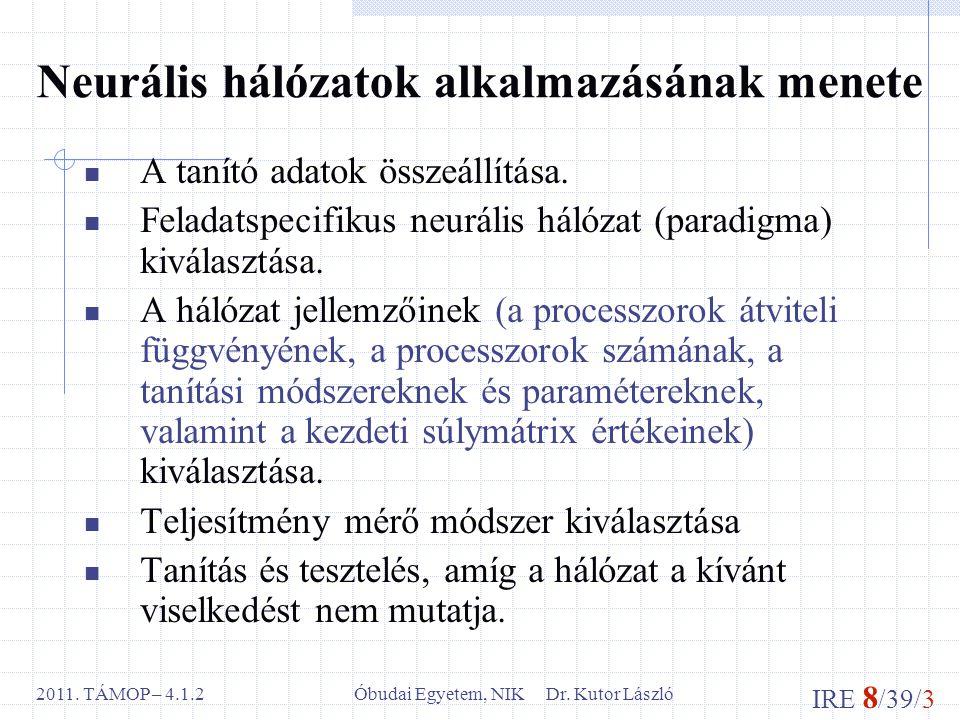 IRE 8 /39/3 Óbudai Egyetem, NIK Dr. Kutor László2011. TÁMOP – 4.1.2 Neurális hálózatok alkalmazásának menete A tanító adatok összeállítása. Feladatspe
