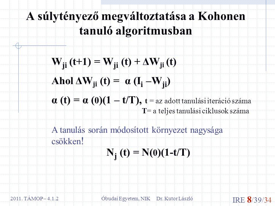 IRE 8 /39/34 Óbudai Egyetem, NIK Dr. Kutor László2011. TÁMOP – 4.1.2 A súlytényező megváltoztatása a Kohonen tanuló algoritmusban W ji (t+1) = W ji (t