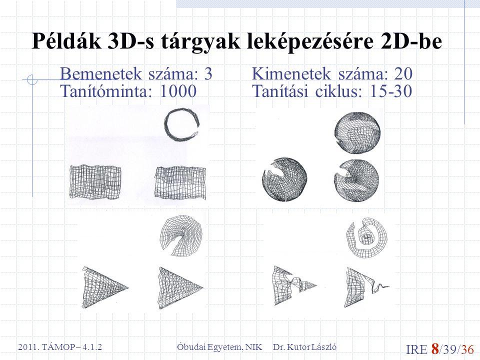 IRE 8 /39/36 Óbudai Egyetem, NIK Dr. Kutor László2011. TÁMOP – 4.1.2 Példák 3D-s tárgyak leképezésére 2D-be Bemenetek száma: 3Kimenetek száma: 20 Taní