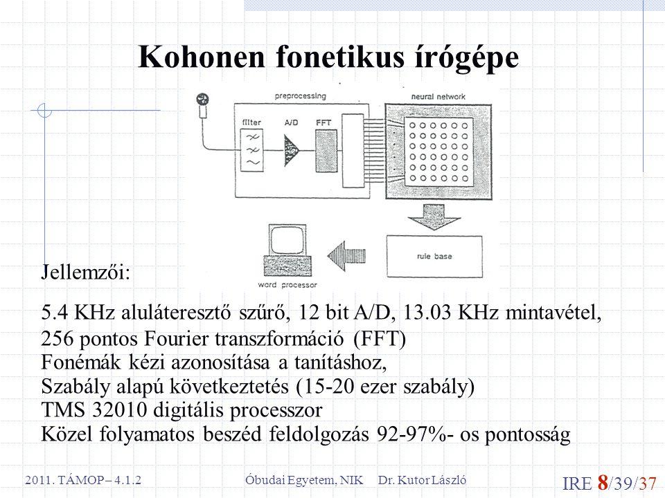 IRE 8 /39/37 Óbudai Egyetem, NIK Dr. Kutor László2011. TÁMOP – 4.1.2 Kohonen fonetikus írógépe Jellemzői: 5.4 KHz aluláteresztő szűrő, 12 bit A/D, 13.