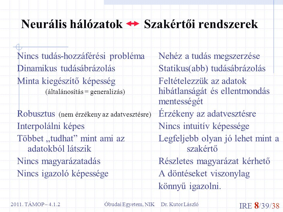 IRE 8 /39/38 Óbudai Egyetem, NIK Dr. Kutor László2011. TÁMOP – 4.1.2 Neurális hálózatok Szakértői rendszerek Nincs tudás-hozzáférési problémaNehéz a t