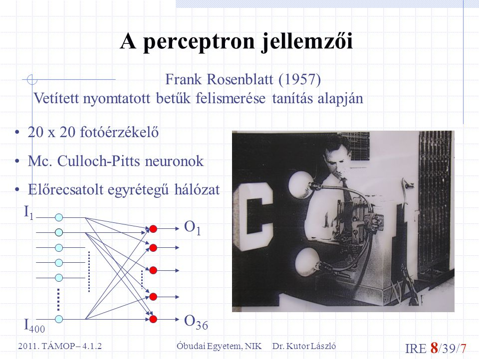IRE 8 /39/7 Óbudai Egyetem, NIK Dr.Kutor László2011.