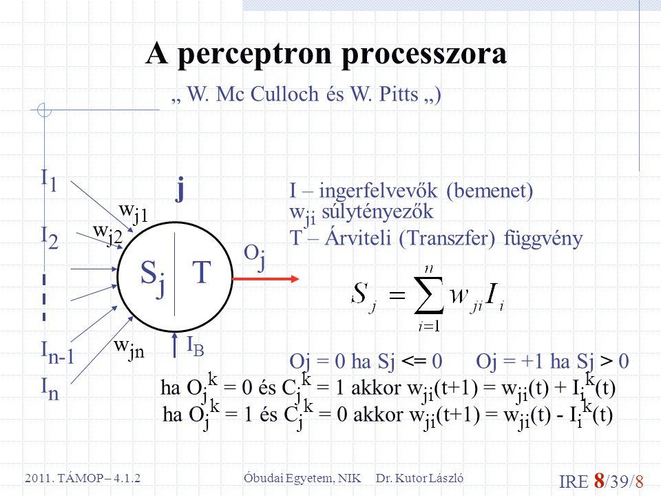 IRE 8 /39/8 Óbudai Egyetem, NIK Dr. Kutor László2011. TÁMOP – 4.1.2 A perceptron processzora I – ingerfelvevők (bemenet) w ji súlytényezők T – Árvitel