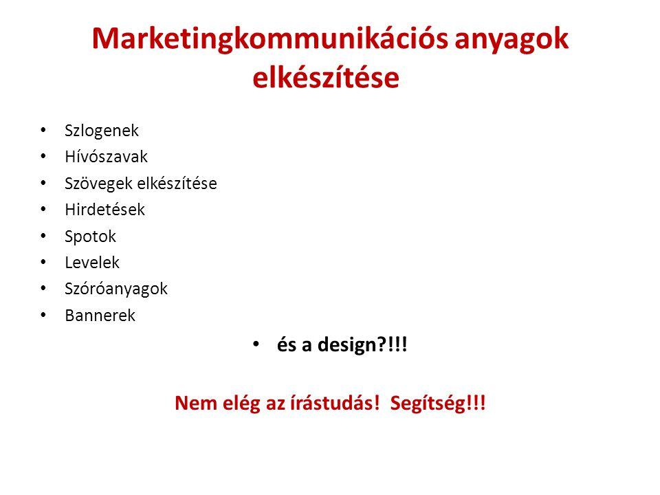 Marketingkommunikációs anyagok elkészítése Szlogenek Hívószavak Szövegek elkészítése Hirdetések Spotok Levelek Szóróanyagok Bannerek és a design?!!.