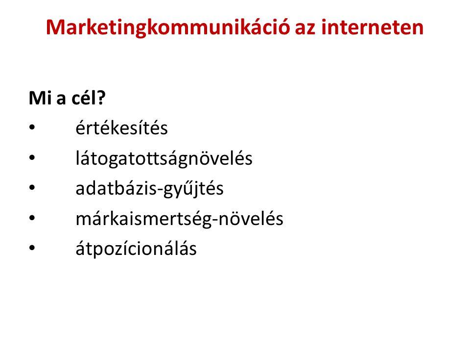 Marketingkommunikáció az interneten Mi a cél.