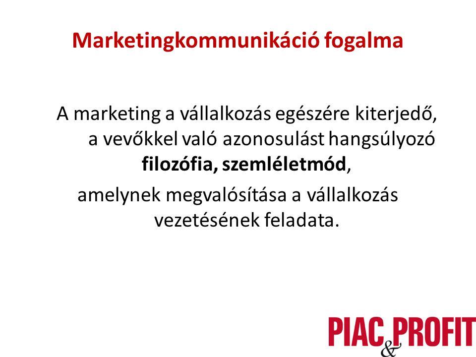 Marketingkommunikáció fogalma A marketing a vállalkozás egészére kiterjedő, a vevőkkel való azonosulást hangsúlyozó filozófia, szemléletmód, amelynek megvalósítása a vállalkozás vezetésének feladata.