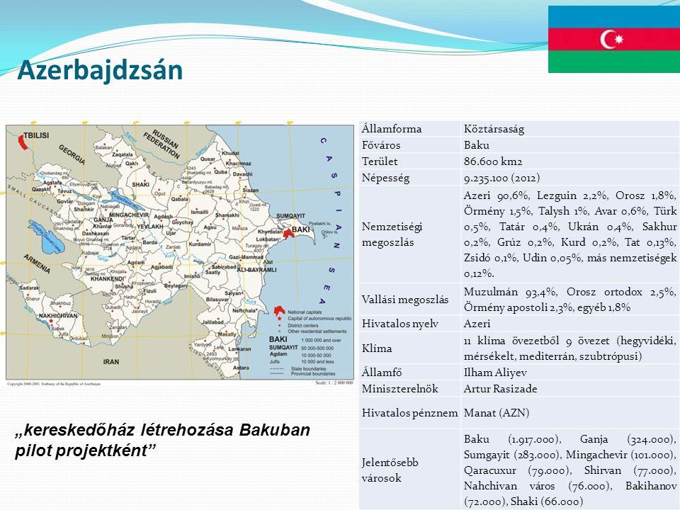 Azerbajdzsán ÁllamformaKöztársaság FővárosBaku Terület86.600 km2 Népesség9.235.100 (2012) Nemzetiségi megoszlás Azeri 90,6%, Lezguin 2,2%, Orosz 1,8%, Örmény 1,5%, Talysh 1%, Avar 0,6%, Türk 0,5%, Tatár 0,4%, Ukrán 0,4%, Sakhur 0,2%, Grúz 0,2%, Kurd 0,2%, Tat 0,13%, Zsidó 0,1%, Udin 0,05%, más nemzetiségek 0,12%.
