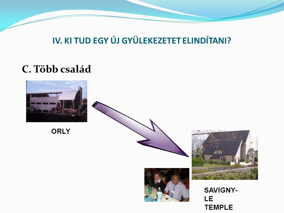 IV. KI TUD EGY ÚJ GYÜLEKEZETET ELINDÍTANI C. Több család ORLY SAVIGNY- LE TEMPLE