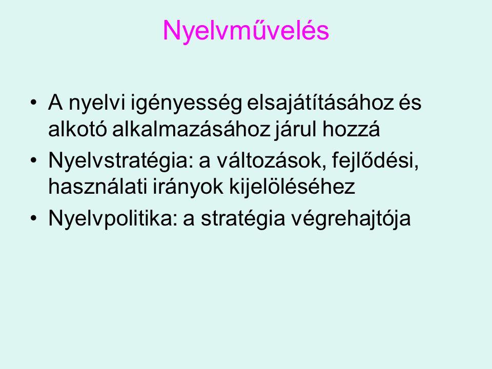 Nyelvművelés A nyelvi igényesség elsajátításához és alkotó alkalmazásához járul hozzá Nyelvstratégia: a változások, fejlődési, használati irányok kije