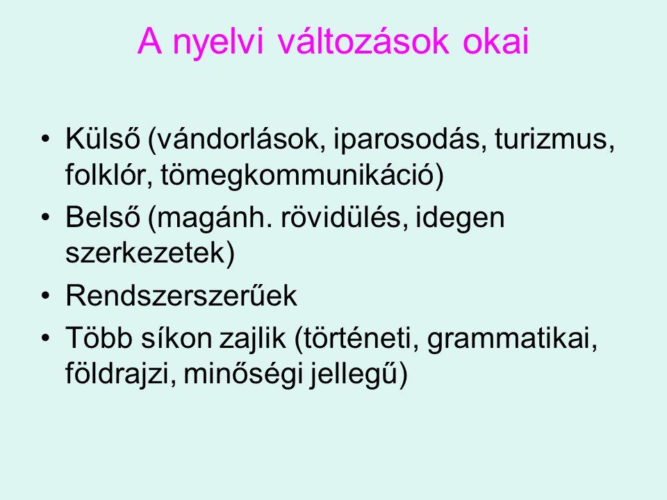 A nyelvi változások okai Külső (vándorlások, iparosodás, turizmus, folklór, tömegkommunikáció) Belső (magánh. rövidülés, idegen szerkezetek) Rendszers