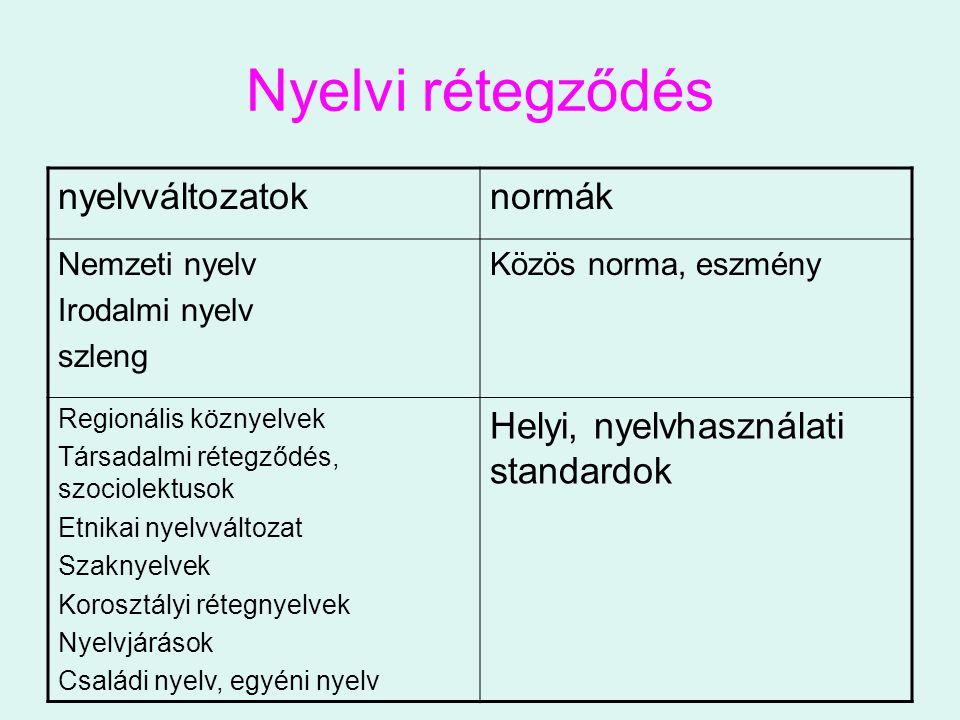 Nyelvi rétegződés nyelvváltozatoknormák Nemzeti nyelv Irodalmi nyelv szleng Közös norma, eszmény Regionális köznyelvek Társadalmi rétegződés, szociole