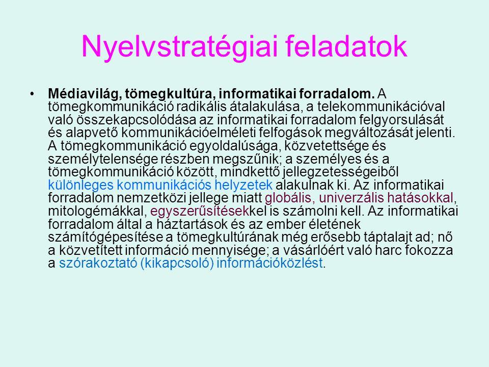 Nyelvstratégiai feladatok Médiavilág, tömegkultúra, informatikai forradalom. A tömegkommunikáció radikális átalakulása, a telekommunikációval való öss