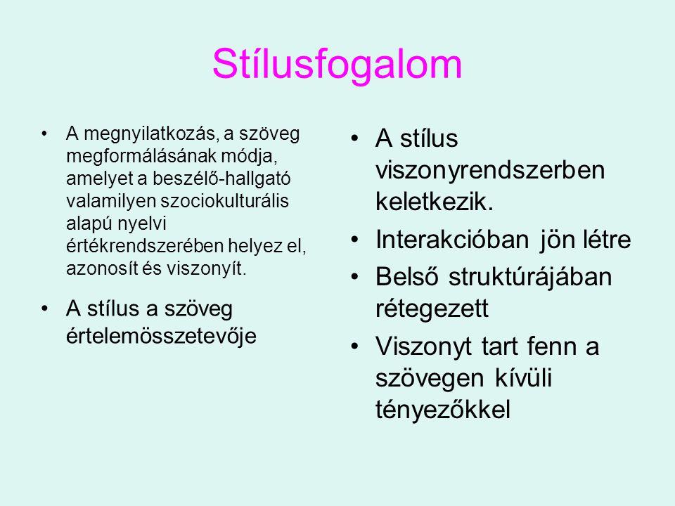 Stílusfogalom A megnyilatkozás, a szöveg megformálásának módja, amelyet a beszélő-hallgató valamilyen szociokulturális alapú nyelvi értékrendszerében