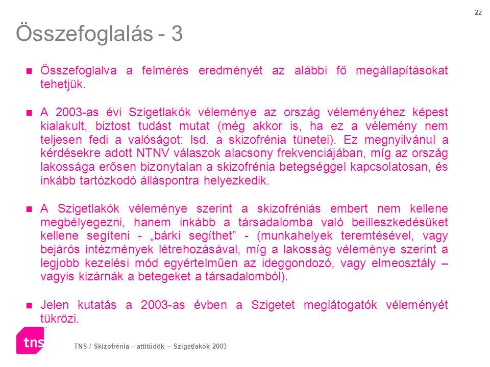 TNS / Skizofrénia – attitűdök – Szigetlakók 2003 22 Összefoglalás - 3 Összefoglalva a felmérés eredményét az alábbi fő megállapításokat tehetjük. A 20