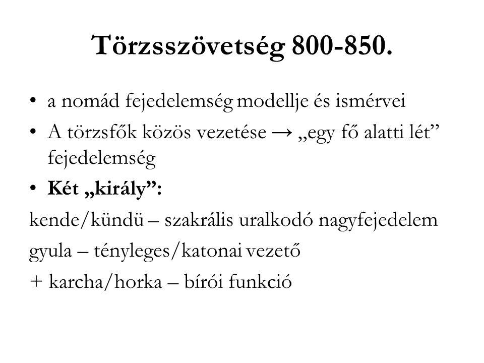 """Törzsszövetség 800-850. a nomád fejedelemség modellje és ismérvei A törzsfők közös vezetése → """"egy fő alatti lét"""" fejedelemség Két """"király"""": kende/kün"""