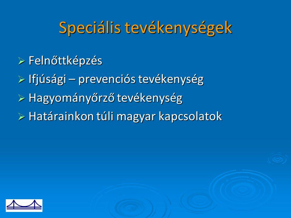 Speciális tevékenységek  Felnőttképzés  Ifjúsági – prevenciós tevékenység  Hagyományőrző tevékenység  Határainkon túli magyar kapcsolatok