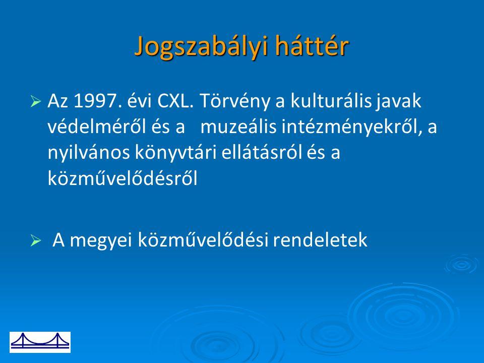 Jogszabályi háttér   Az 1997. évi CXL. Törvény a kulturális javak védelméről és a muzeális intézményekről, a nyilvános könyvtári ellátásról és a köz