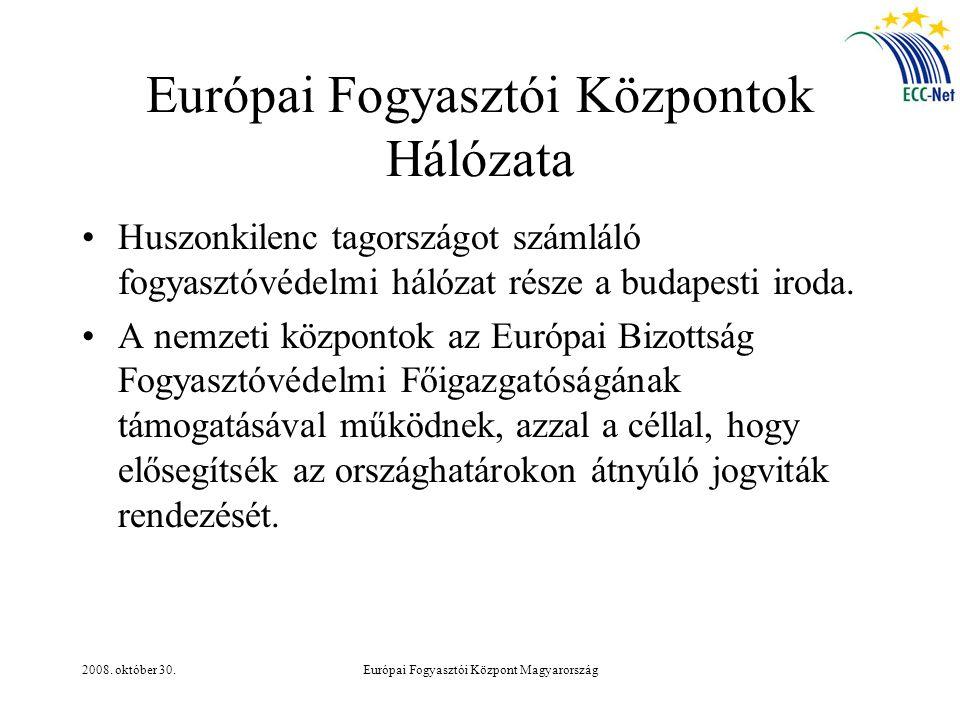 2008. október 30.Európai Fogyasztói Központ Magyarország Európai Fogyasztói Központok Hálózata Huszonkilenc tagországot számláló fogyasztóvédelmi háló
