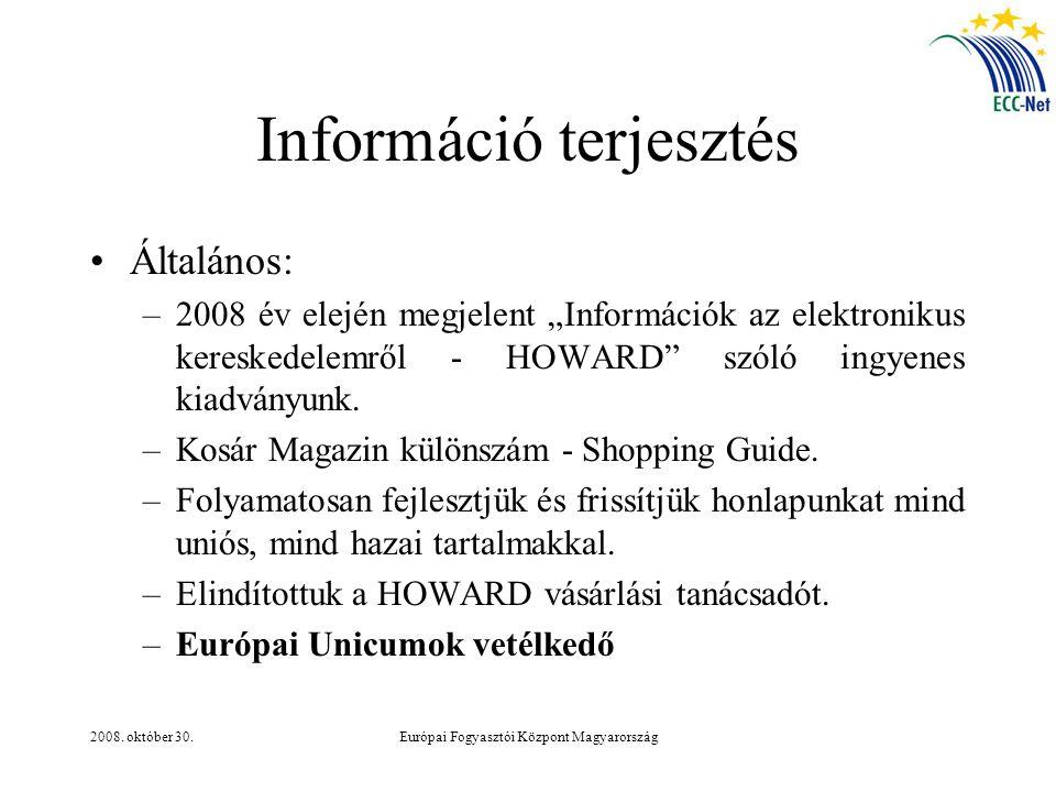 """2008. október 30.Európai Fogyasztói Központ Magyarország Információ terjesztés Általános: –2008 év elején megjelent """"Információk az elektronikus keres"""