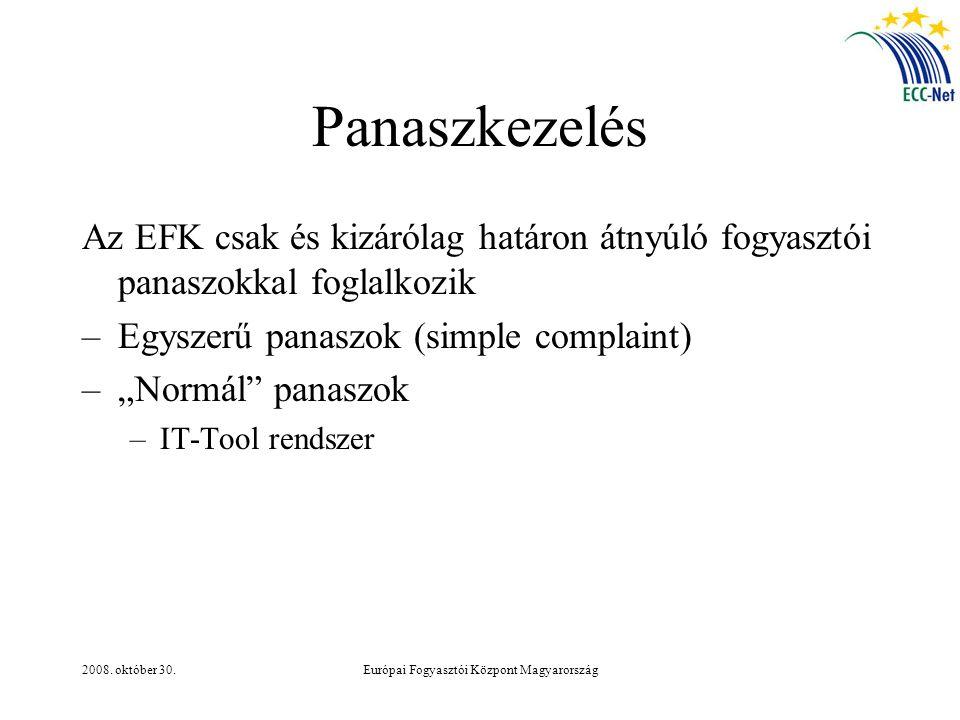 2008. október 30.Európai Fogyasztói Központ Magyarország Panaszkezelés Az EFK csak és kizárólag határon átnyúló fogyasztói panaszokkal foglalkozik –Eg