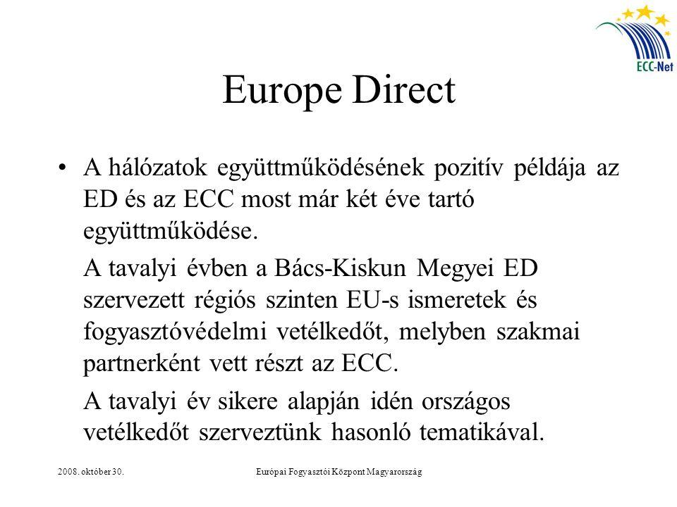 2008. október 30.Európai Fogyasztói Központ Magyarország Europe Direct A hálózatok együttműködésének pozitív példája az ED és az ECC most már két éve