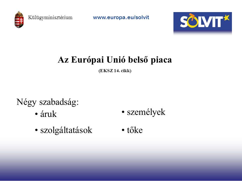Az Európai Unió belső piaca (EKSZ 14. cikk) Négy szabadság: áruk szolgáltatások személyek tőke Külügyminisztérium www.europa.eu/solvit