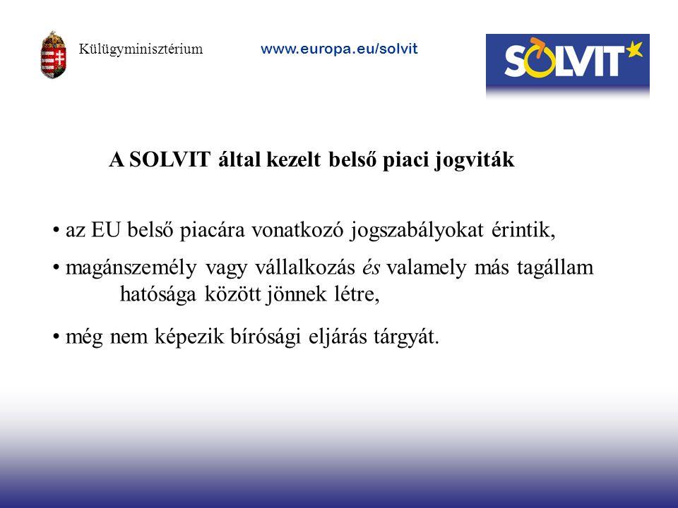 magánszemély vagy vállalkozás és valamely más tagállam hatósága között jönnek létre, A SOLVIT által kezelt belső piaci jogviták még nem képezik bírósá