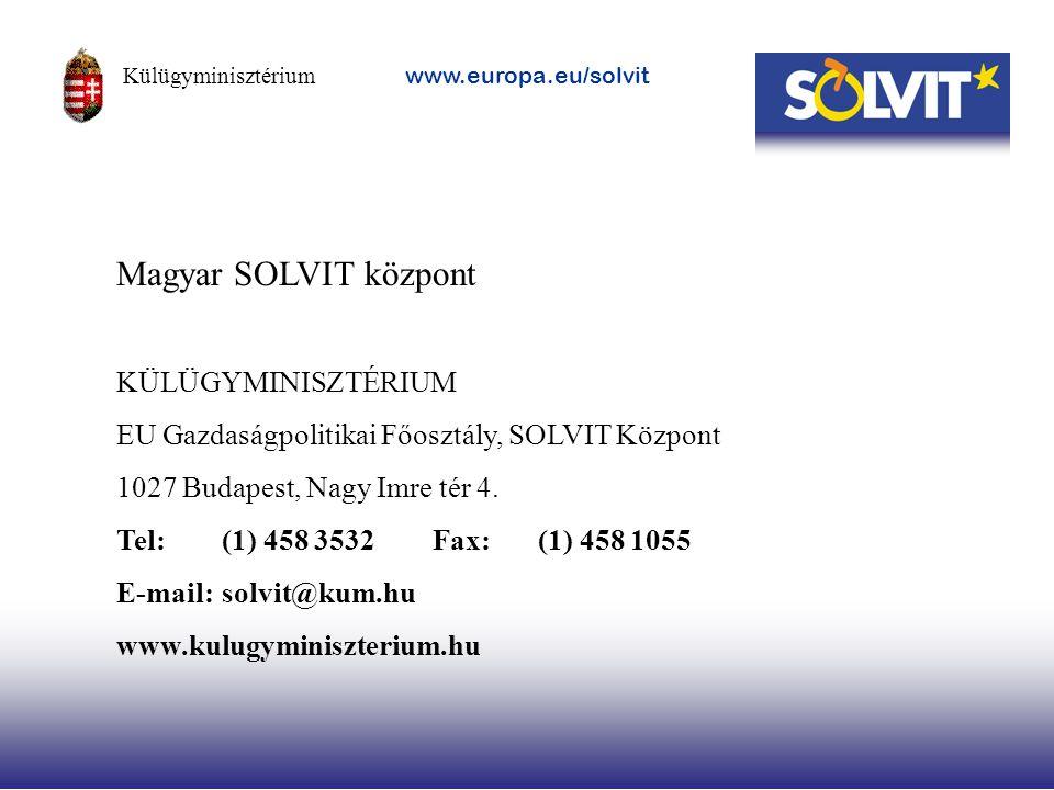 Magyar SOLVIT központ KÜLÜGYMINISZTÉRIUM EU Gazdaságpolitikai Főosztály, SOLVIT Központ 1027 Budapest, Nagy Imre tér 4. Tel: (1) 458 3532Fax:(1) 458 1