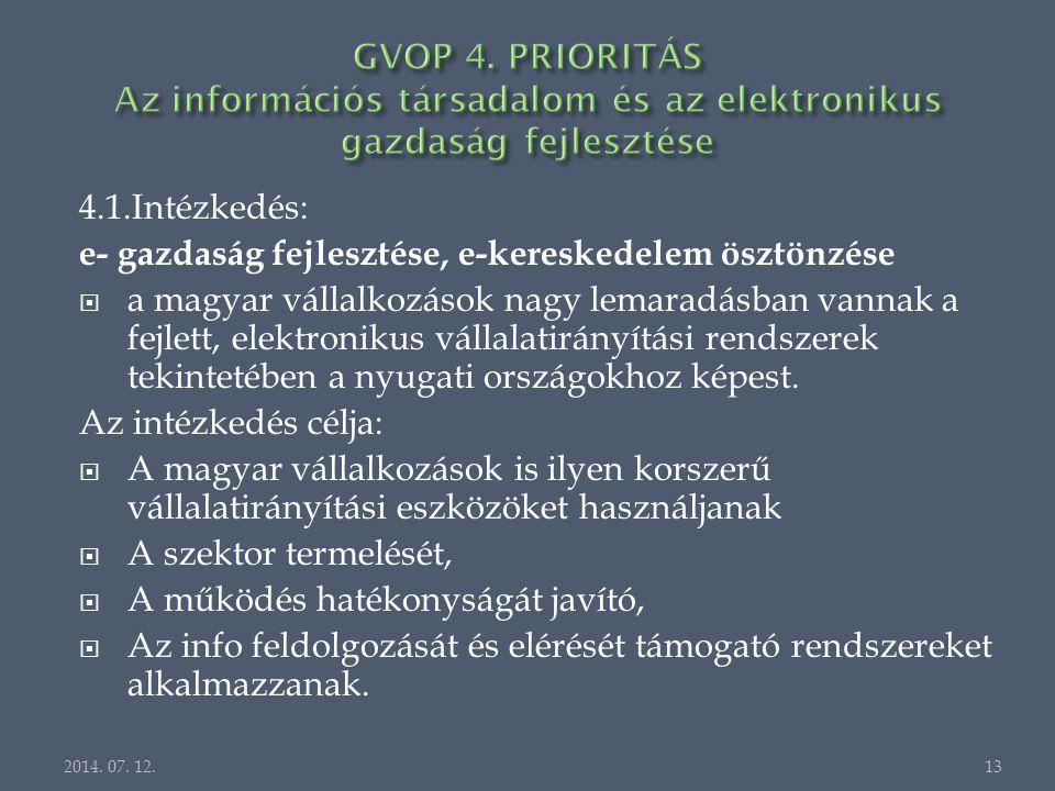 4.1.Intézkedés: e- gazdaság fejlesztése, e-kereskedelem ösztönzése  a magyar vállalkozások nagy lemaradásban vannak a fejlett, elektronikus vállalatirányítási rendszerek tekintetében a nyugati országokhoz képest.