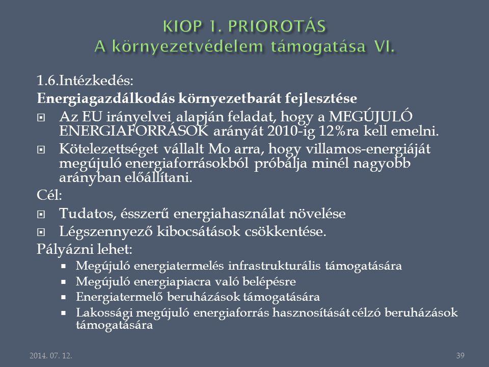 1.6.Intézkedés: Energiagazdálkodás környezetbarát fejlesztése  Az EU irányelvei alapján feladat, hogy a MEGÚJULÓ ENERGIAFORRÁSOK arányát 2010-ig 12%ra kell emelni.
