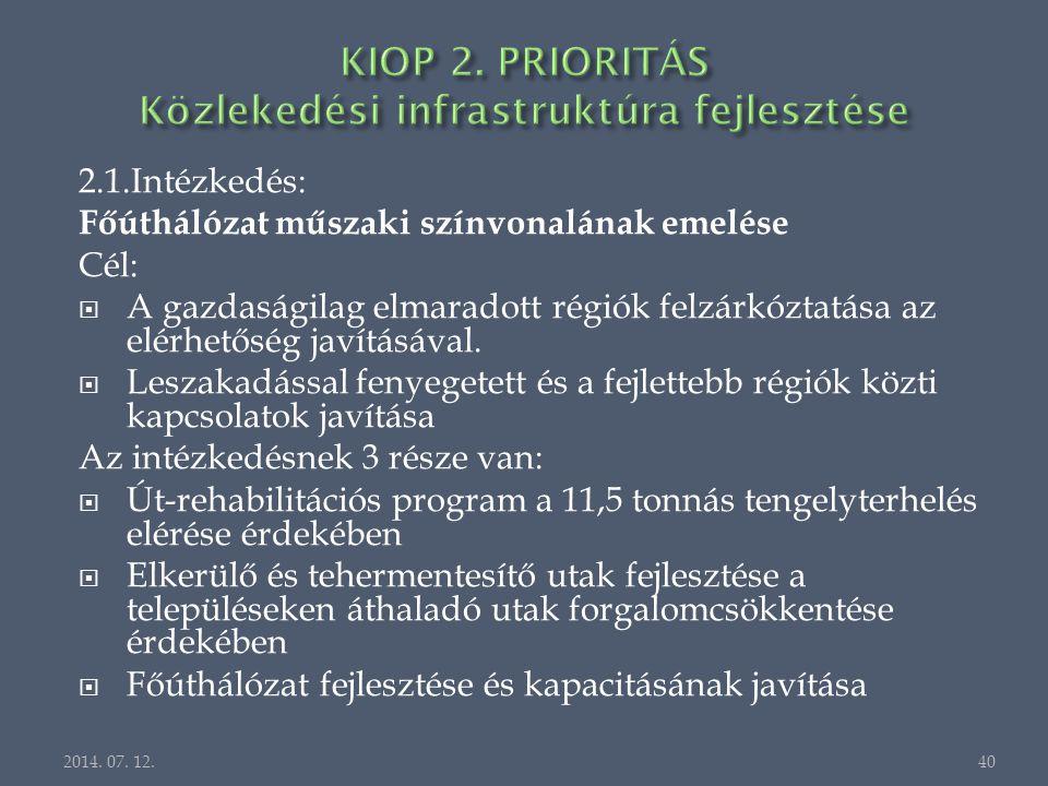 2.1.Intézkedés: Főúthálózat műszaki színvonalának emelése Cél:  A gazdaságilag elmaradott régiók felzárkóztatása az elérhetőség javításával.