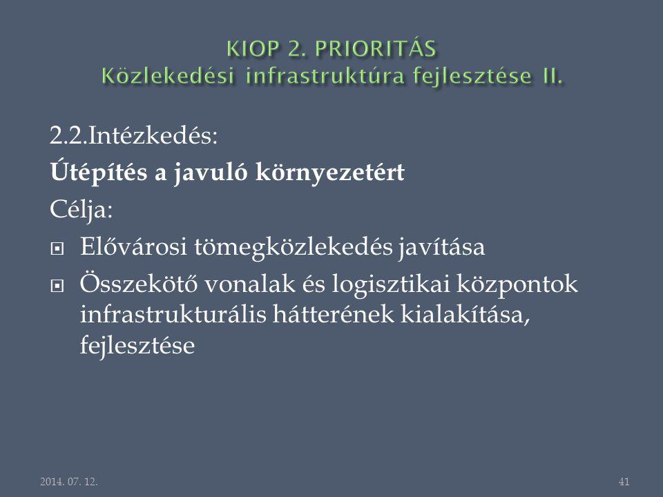 2.2.Intézkedés: Útépítés a javuló környezetért Célja:  Elővárosi tömegközlekedés javítása  Összekötő vonalak és logisztikai központok infrastrukturális hátterének kialakítása, fejlesztése 2014.