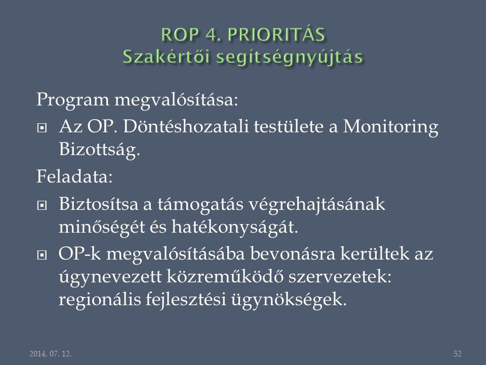 Program megvalósítása:  Az OP. Döntéshozatali testülete a Monitoring Bizottság.