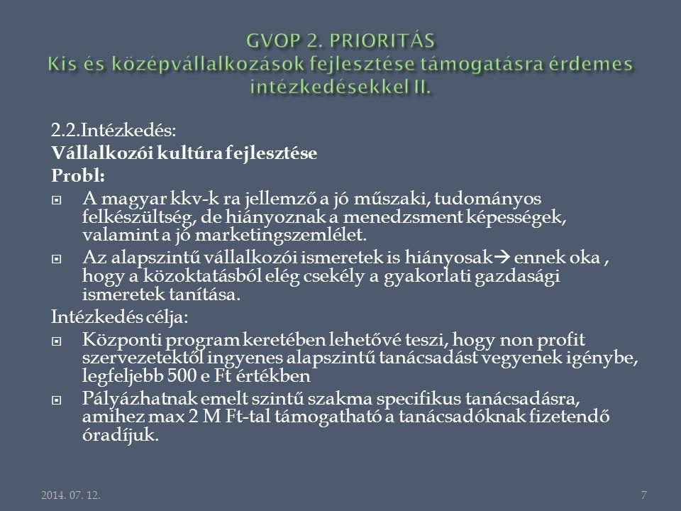 2.2.Intézkedés: Vállalkozói kultúra fejlesztése Probl:  A magyar kkv-k ra jellemző a jó műszaki, tudományos felkészültség, de hiányoznak a menedzsment képességek, valamint a jó marketingszemlélet.