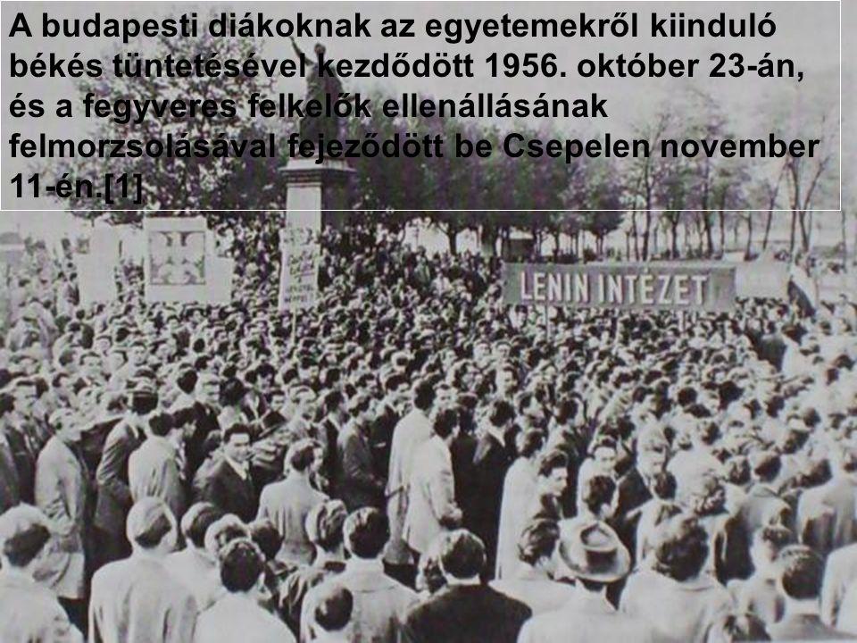 A budapesti diákoknak az egyetemekről kiinduló békés tüntetésével kezdődött 1956. október 23-án, és a fegyveres felkelők ellenállásának felmorzsolá