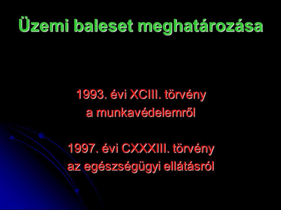 Üzemi baleset meghatározása 1993. évi XCIII. törvény a munkavédelemről 1997. évi CXXXIII. törvény az egészségügyi ellátásról
