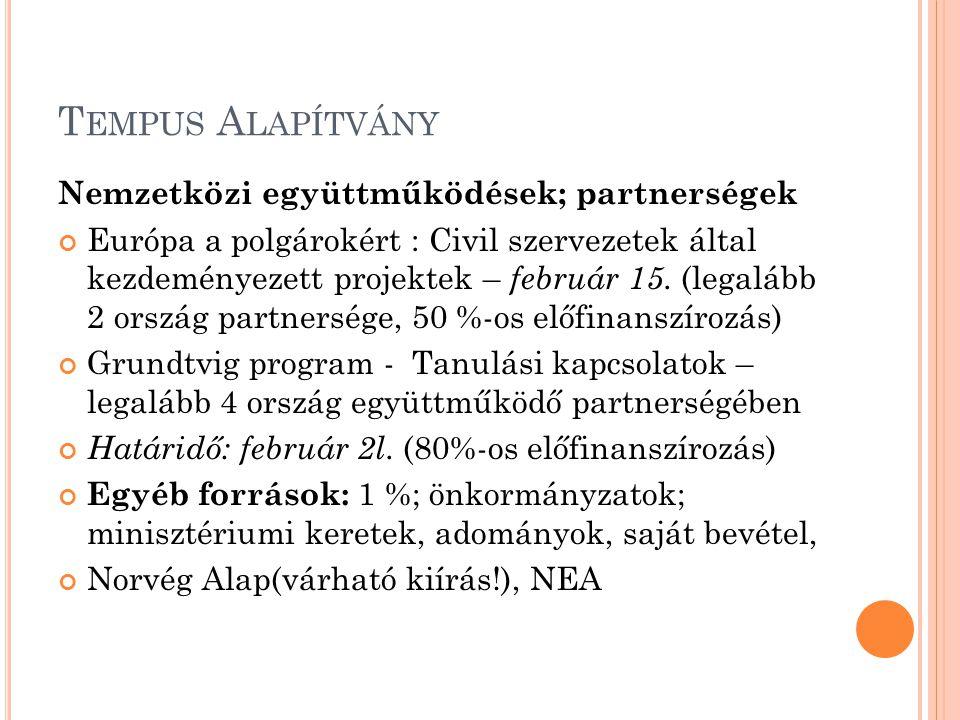 T EMPUS A LAPÍTVÁNY Nemzetközi együttműködések; partnerségek Európa a polgárokért : Civil szervezetek által kezdeményezett projektek – február 15.