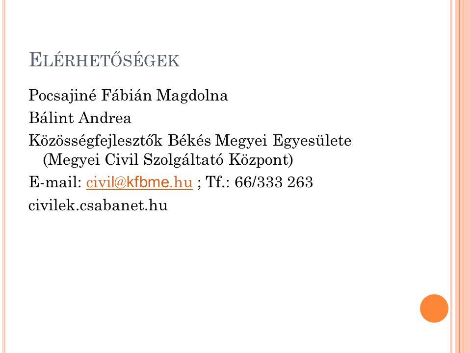E LÉRHETŐSÉGEK Pocsajiné Fábián Magdolna Bálint Andrea Közösségfejlesztők Békés Megyei Egyesülete (Megyei Civil Szolgáltató Központ) E-mail: civi l @ kfbme.hu ; Tf.: 66/333 263civi l @ kfbme.hu civilek.csabanet.hu