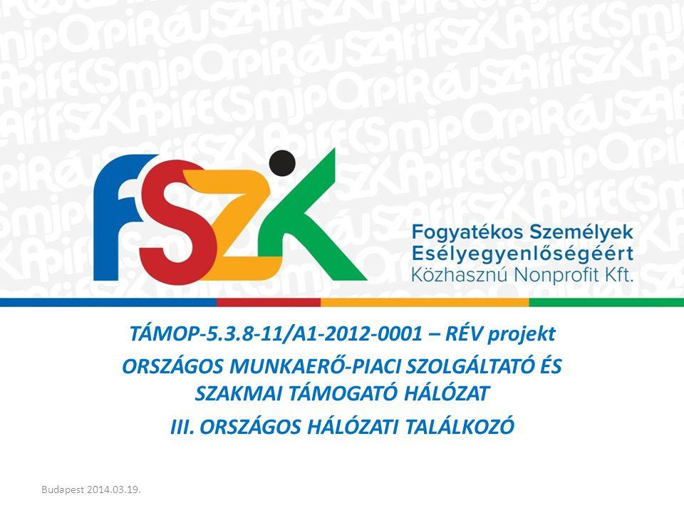 TÁMOP-5.3.8-11/A1-2012-0001 – RÉV projekt ORSZÁGOS MUNKAERŐ-PIACI SZOLGÁLTATÓ ÉS SZAKMAI TÁMOGATÓ HÁLÓZAT III.