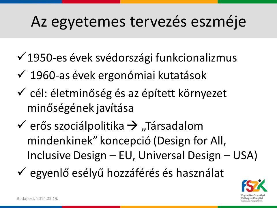 """Az egyetemes tervezés eszméje 1950-es évek svédországi funkcionalizmus 1960-as évek ergonómiai kutatások cél: életminőség és az épített környezet minőségének javítása erős szociálpolitika  """"Társadalom mindenkinek koncepció (Design for All, Inclusive Design – EU, Universal Design – USA) egyenlő esélyű hozzáférés és használat Budapest, 2014.03.19."""