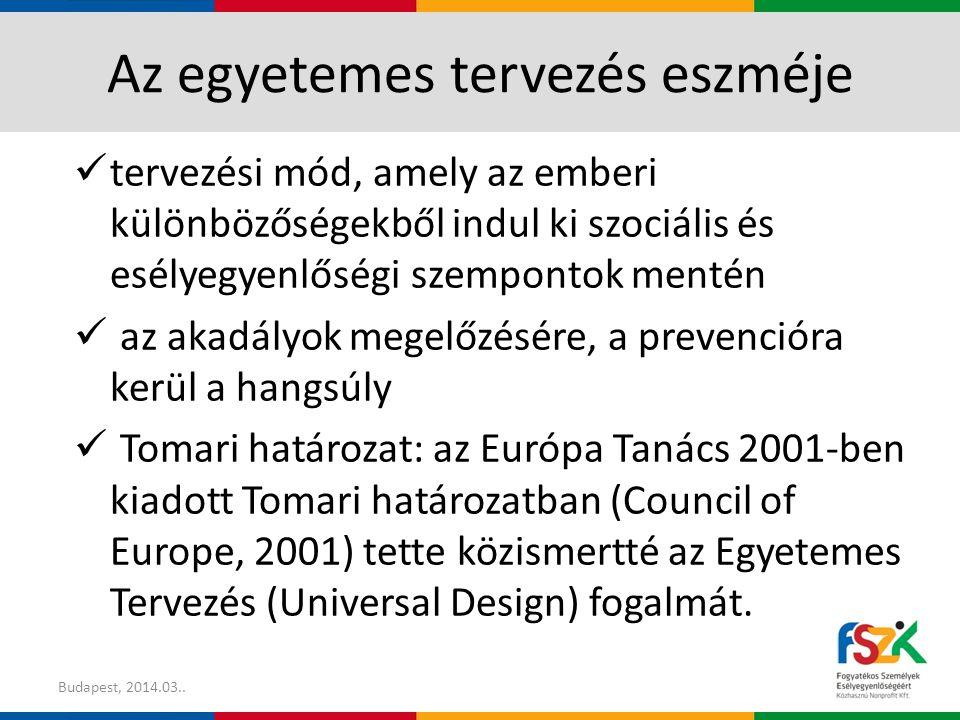 Az egyetemes tervezés a gyakorlatban Az egyetemes tervezés stratégiájának alkalmazása Budapest, 2014.03.19.