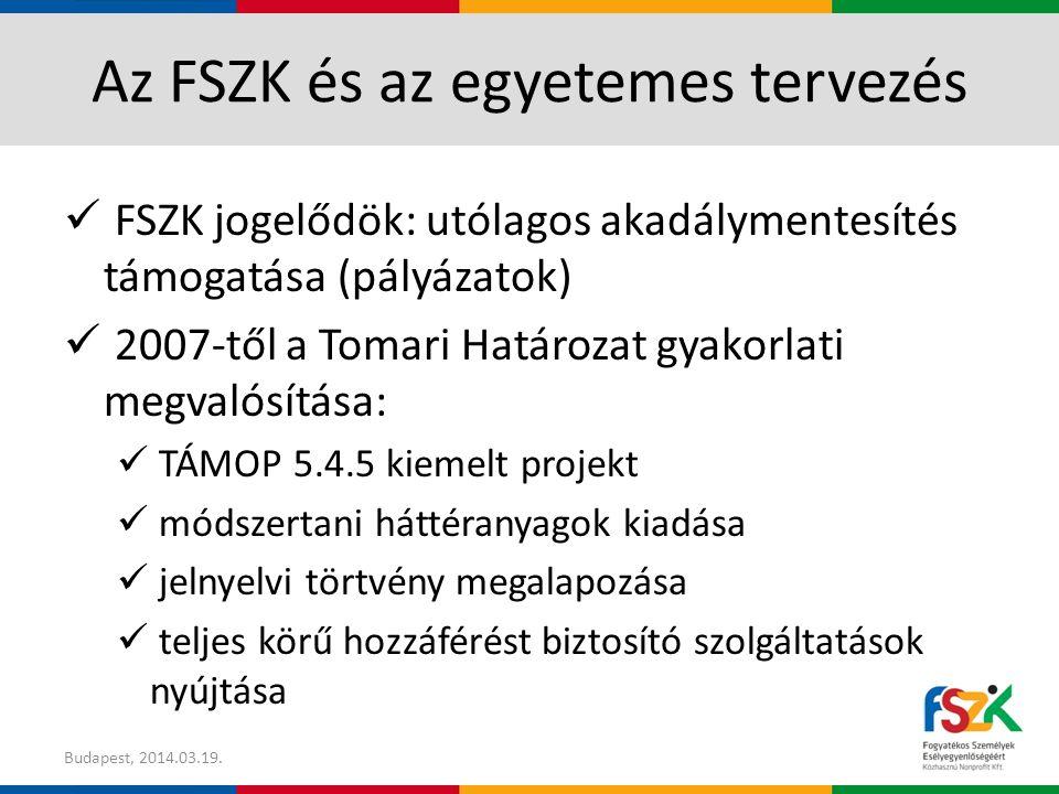 Az FSZK és az egyetemes tervezés FSZK jogelődök: utólagos akadálymentesítés támogatása (pályázatok) 2007-től a Tomari Határozat gyakorlati megvalósítása: TÁMOP 5.4.5 kiemelt projekt módszertani háttéranyagok kiadása jelnyelvi törtvény megalapozása teljes körű hozzáférést biztosító szolgáltatások nyújtása Budapest, 2014.03.19.