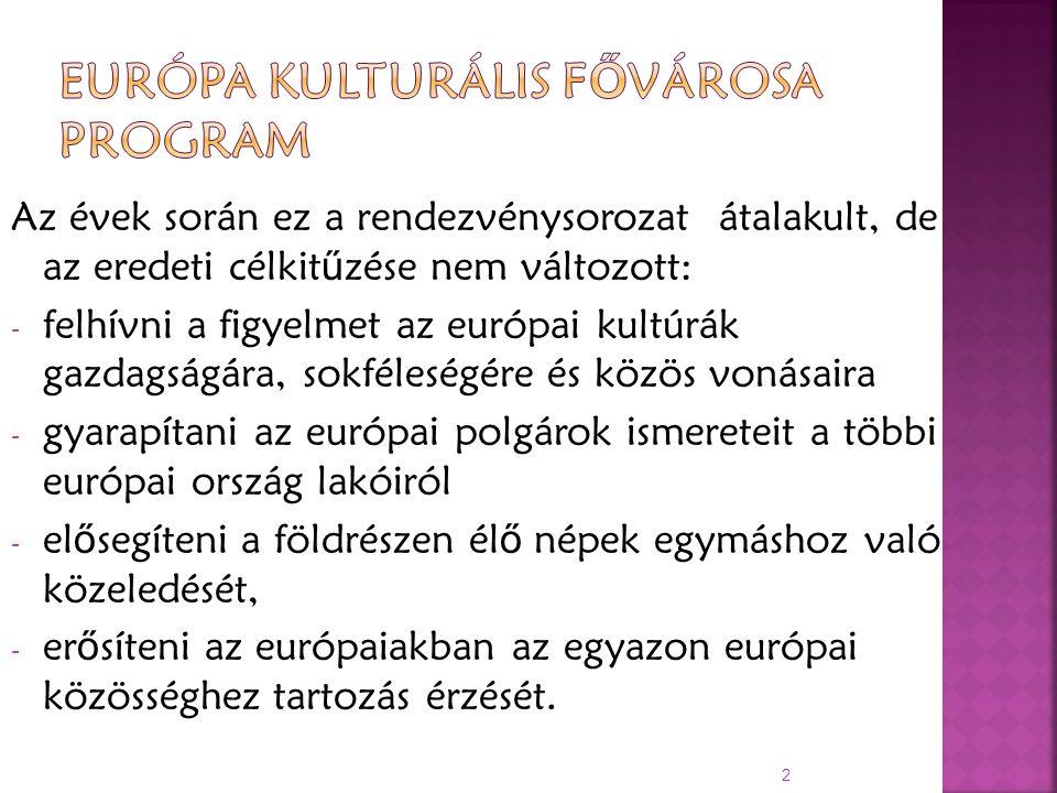 Az évek során ez a rendezvénysorozat átalakult, de az eredeti célkit ű zése nem változott: - felhívni a figyelmet az európai kultúrák gazdagságára, sokféleségére és közös vonásaira - gyarapítani az európai polgárok ismereteit a többi európai ország lakóiról - el ő segíteni a földrészen él ő népek egymáshoz való közeledését, - er ő síteni az európaiakban az egyazon európai közösséghez tartozás érzését.